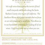 Williamson Family Wines - Chardonnay Barrel Select [Back] (2016)